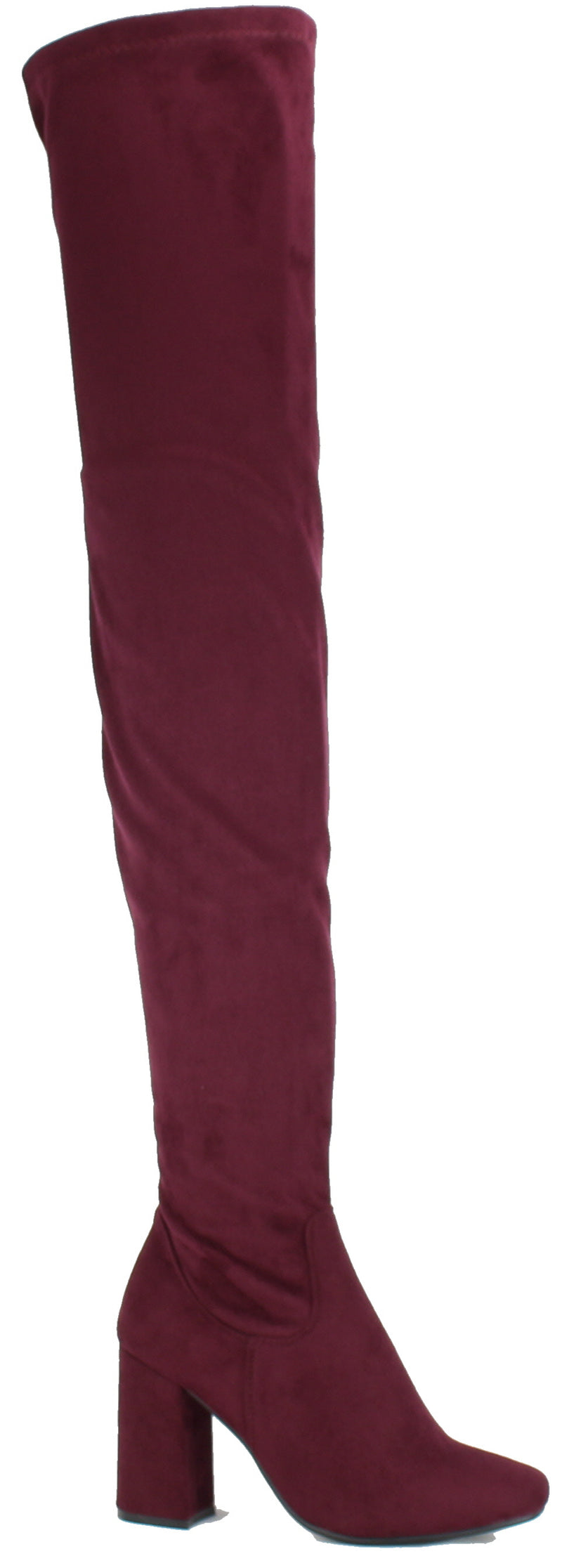 Nature Breeze Elantra-01TH Burgundy Suede Thigh High Chunky Heel Boot