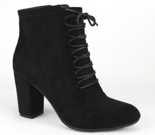 Nature Breeze Elite-02 Black Chunky Heel Lace Up Ankle Bootie