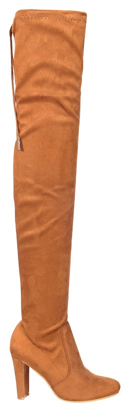 Nature Breeze Eve-01Th Camel Suede Thigh High Chunky Heel Boot