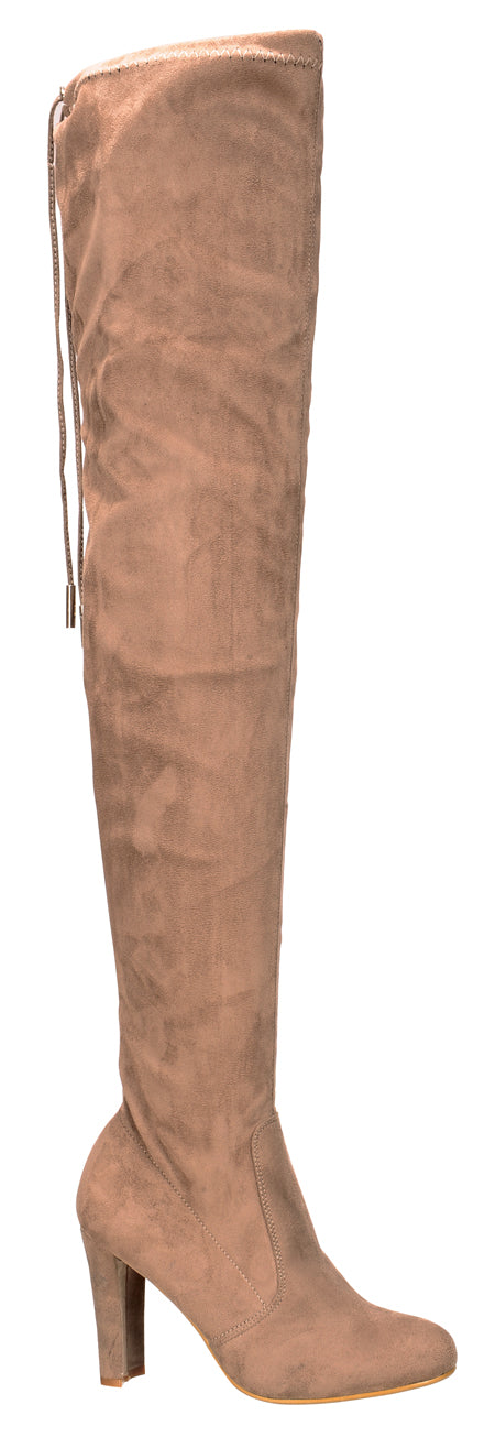 Nature Breeze Eve-01Th Taupe Suede Thigh High Chunky Heel Boot