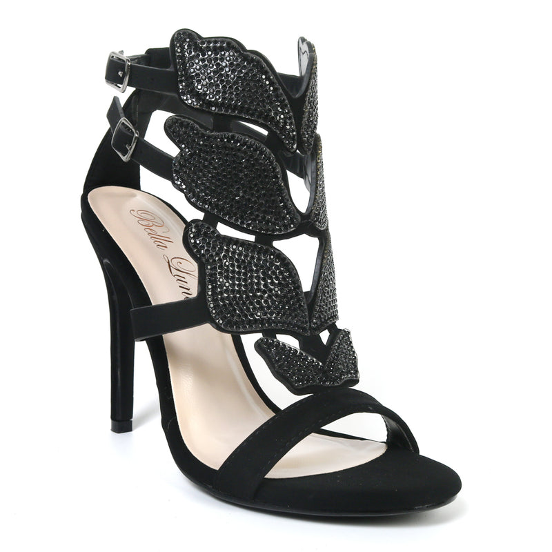 Bella Luna Fairy-34 Black Butterfly Wing Heels