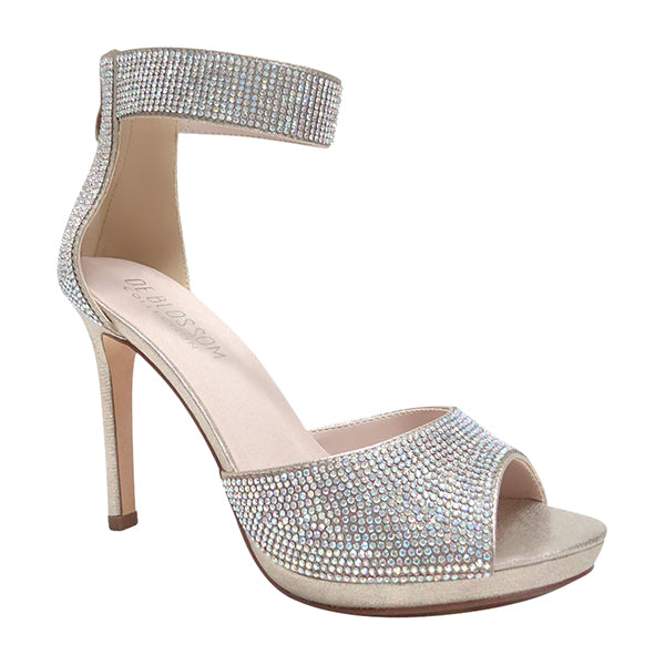 Blossom Flower-12 Champagne Open Toe One Strap Heel With Rhinestones