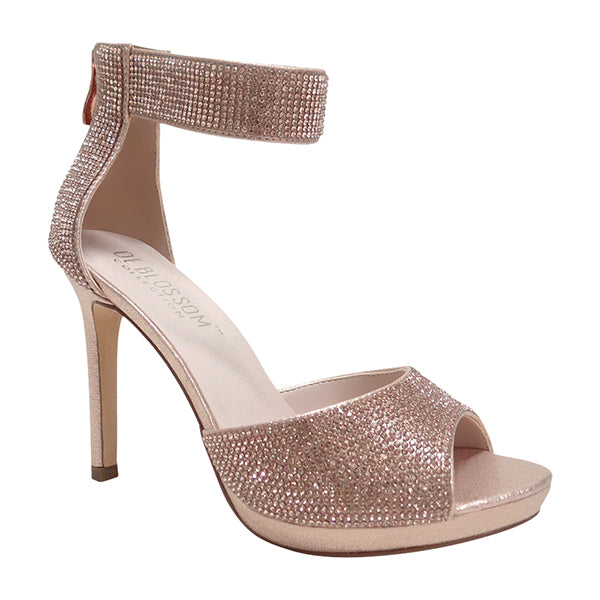 Blossom Flower-12 Rosegold Open Toe One Strap Heel With Rhinestones