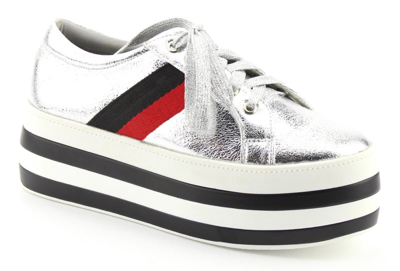 Nature Breeze Follow-01 Chunky Silver Metal Sneakers