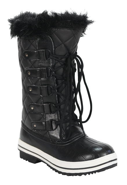 Nature Breeze Frost-03 Black Lace Up Snow Boots