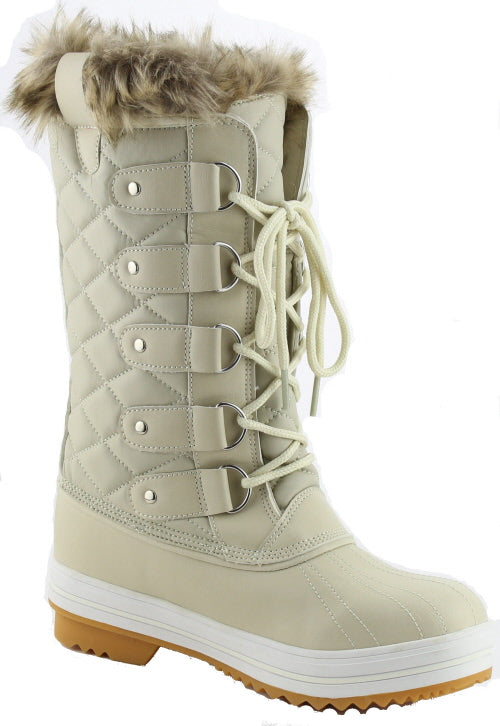 Nature Breeze Frost-03 Off White Lace Up Snow Boots