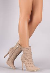 Glaze Audrey-8 Taupe Studded Pointy Toe Stiletto Heel