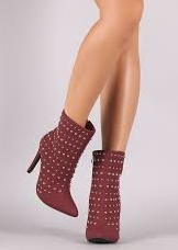 Glaze Audrey-8 Wine Studded Pointy Toe Stiletto Heel