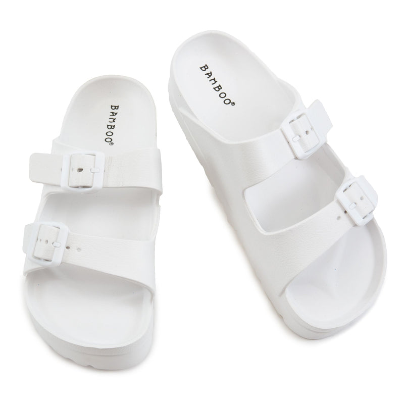 Bamboo Glee-01 White Jelly Double Buckle Platform Slides