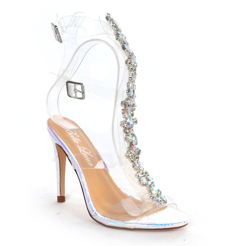 Bella Luna Hayden Pink Clear With Stones Heels