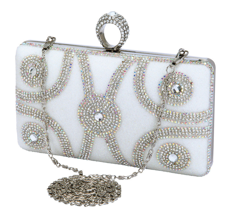HB-ETERNITY-102 Evening Clutch - White