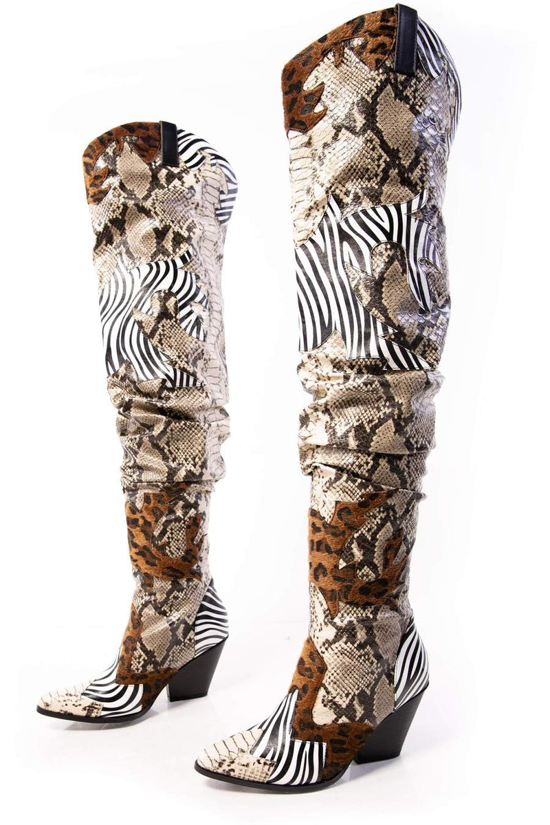 Cape Robbin Hilda Animal Thigh High Slouchy Cowboy boot