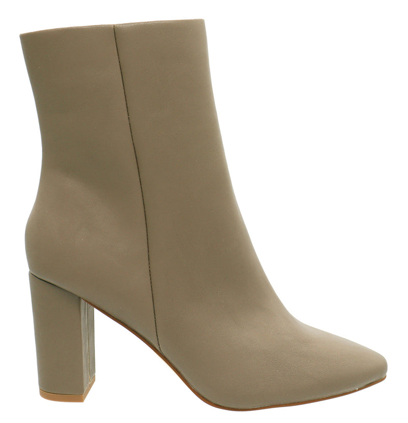 Mixx Shuz Hollie Taupe Pointed Chunky Closed Toe Bootie