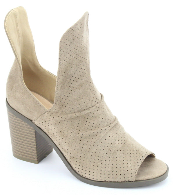1051e88d8a85 Nature Breeze H-Wood-01 Beige Suede Opened Heeled Botties