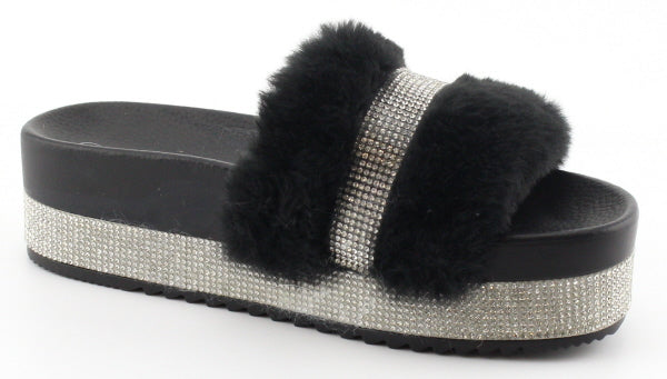 Nature Breeze Indy-01 Black Platform Rhinestone Fur Sandal