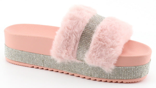 Nature Breeze Indy-01 Pink Platform Rhinestone Fur Sandal