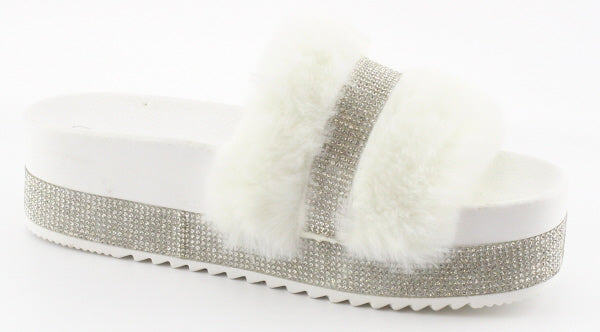 Nature Breeze Indy-01 White Platform Rhinestone Fur Sandal