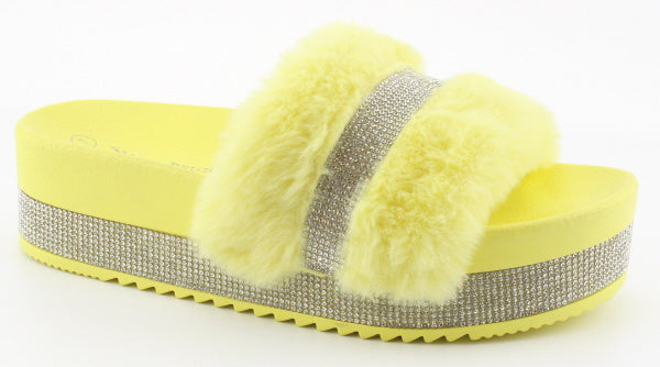 Nature Breeze Indy-01 Yellow Platform Rhinestone Fur Sandal