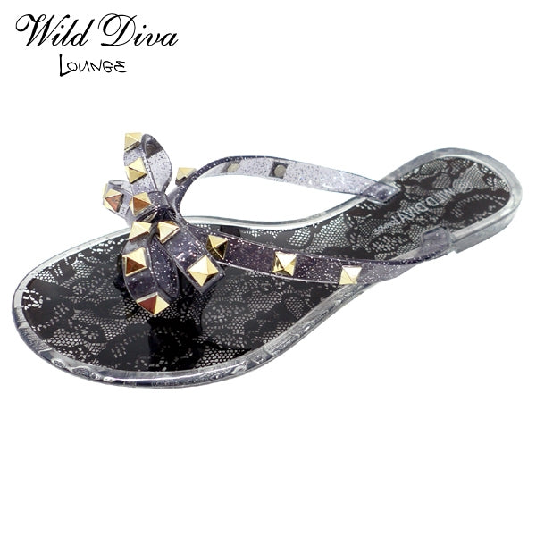 Wild Diva Joanie-173A Black Lace With A Studded Bow Flip Flops