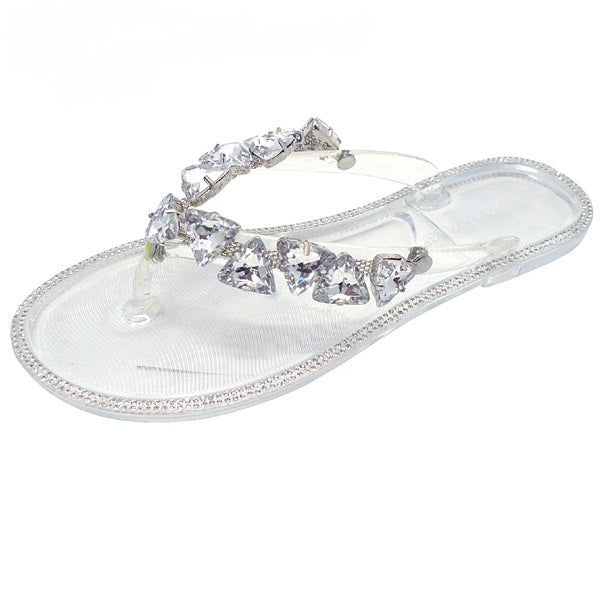 Wild Diva Joanie-214 Clear Jelly Thong Slip Flop W Silver Stones