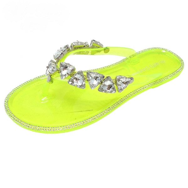 Wild Diva Joanie-214 Neon Yellow Jelly Thong Slip Flop W Silver Stones