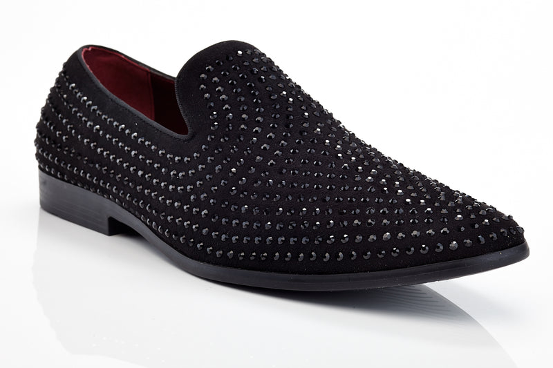 Henry Ferrera Jacomo Black Men Studded Dress Shoe
