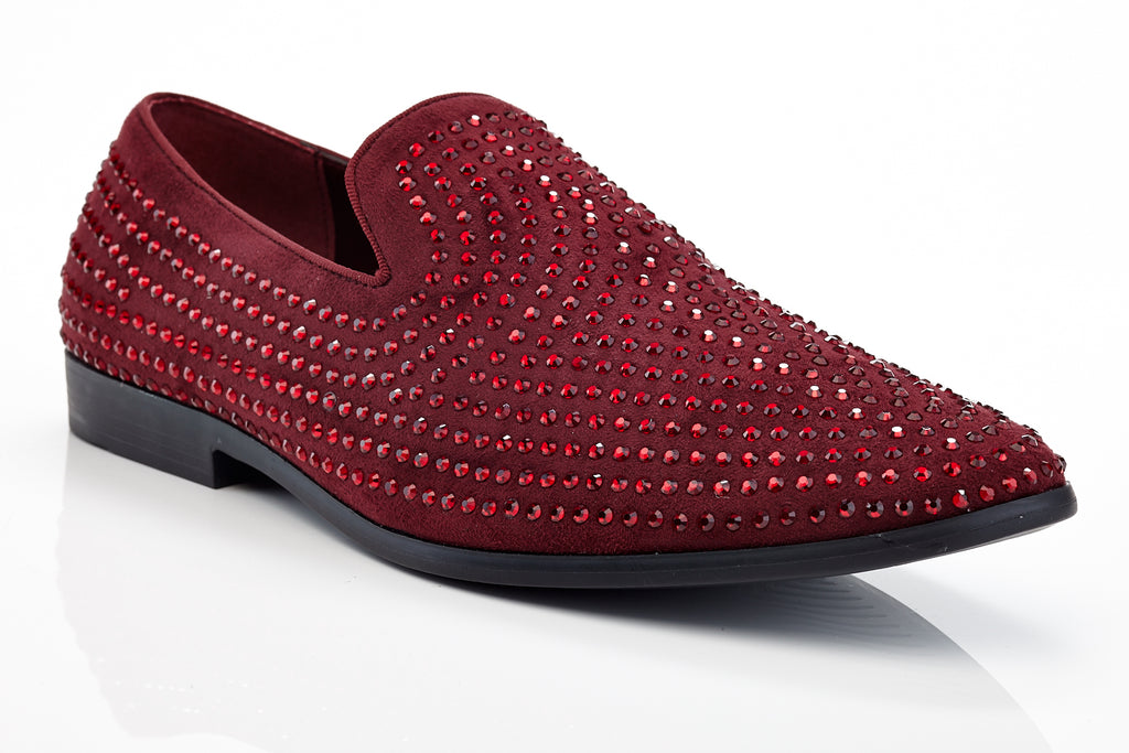 Henry Ferrera Jacomo Burgundy Men Studded Dress Shoe