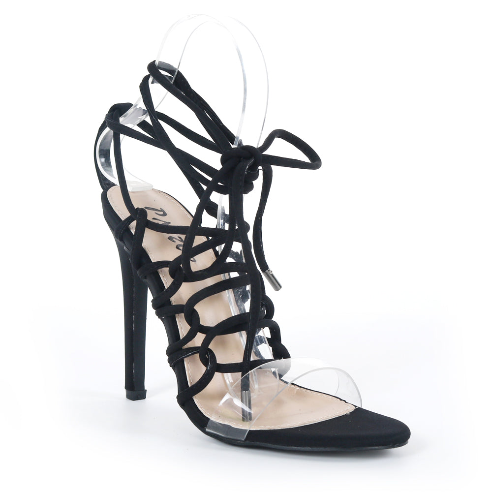 Pazzle Kaie-7 Black Clear Open Toe Corset Lace Up Stiletto Heel