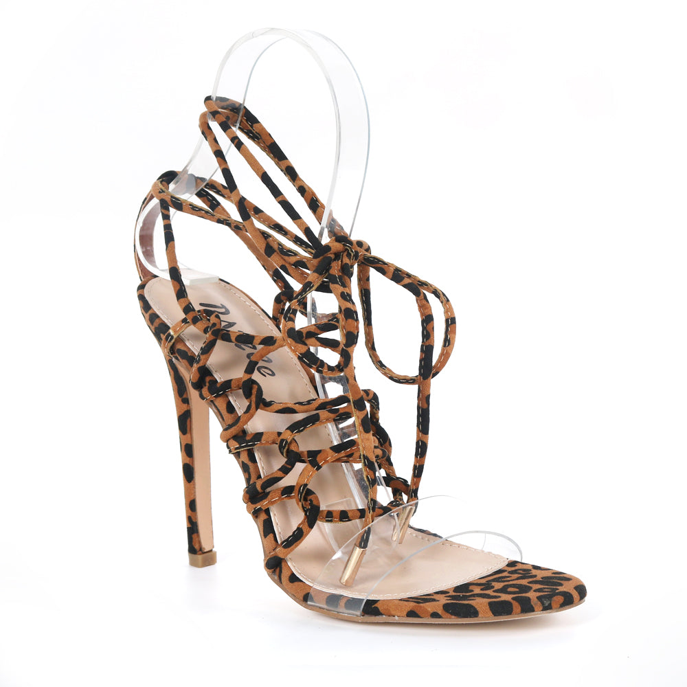 Pazzle Kaie-7 Leopard Clear Open Toe Corset Lace Up Stiletto Heel