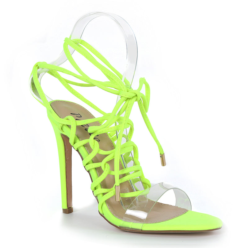 Pazzle Kaie-7 Lime Clear Open Toe Corset Lace Up Stiletto Heel