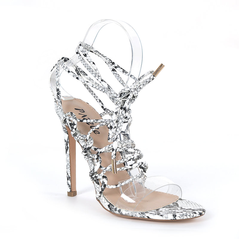 Pazzle Kaie-7 White Snake Clear Open Toe Corset Lace Up Stiletto Heel