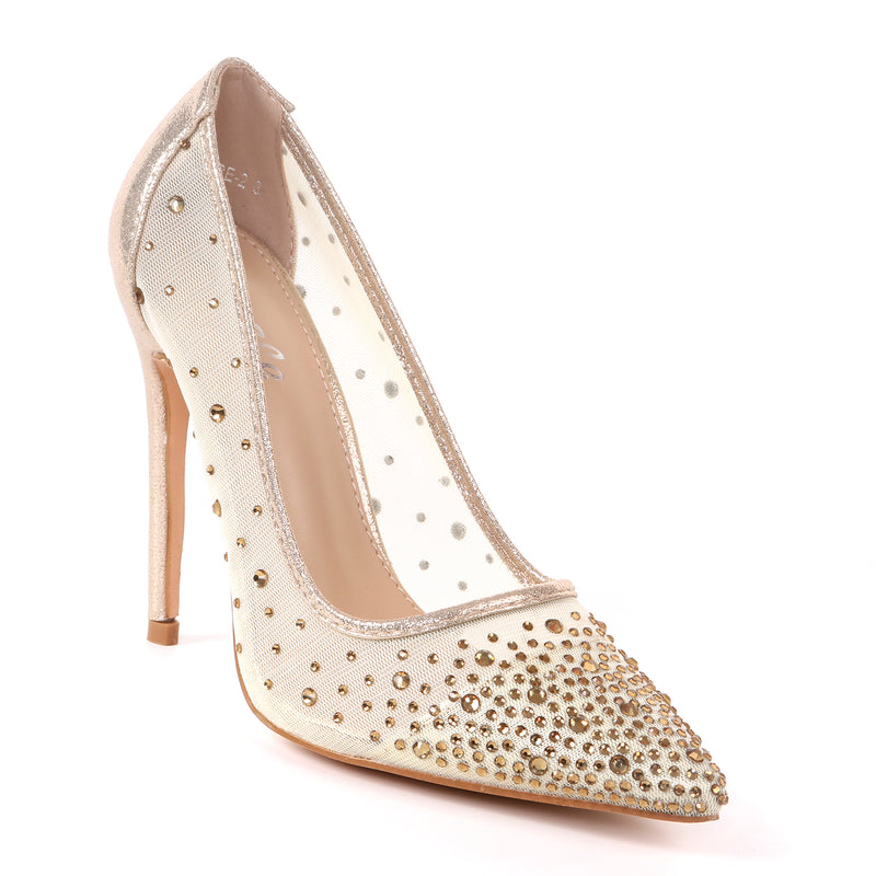 Pazzle Kalare-2 Gold Closed Open Toe Sheer Heel with Rhinestones