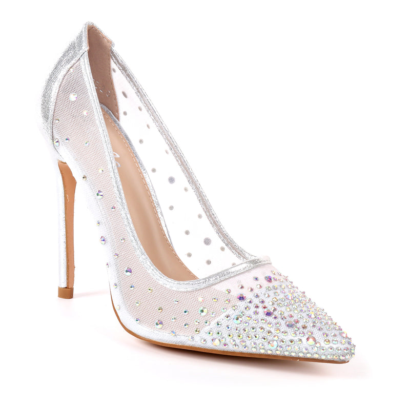 Pazzle Kalare-2 Silver Closed Open Toe Sheer Heel with Rhinestones