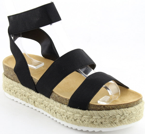 Nature Breeze Kacie-02 Black Espadrille Sandal Strappy