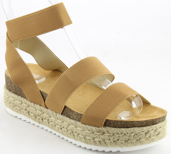 Nature Breeze Kacie-02 Camel Espadrille Sandal Strappy