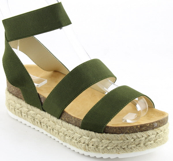 Nature Breeze Kacie-02 Olive Espadrille Sandal Strappy