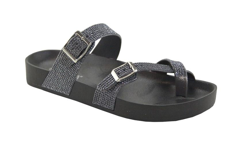 Anna Levy-88 Black Criss Cross Rhinestone Slides