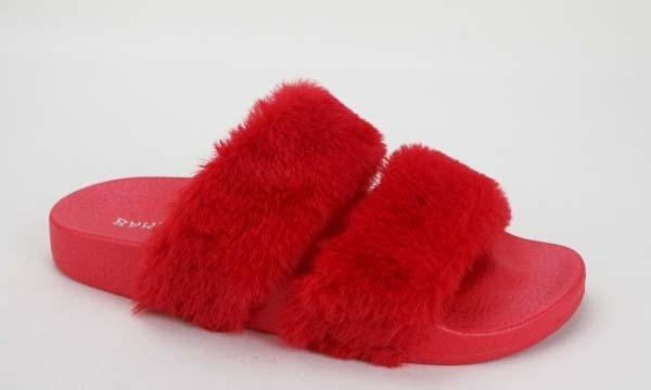 Bamboo Liv-04 Red Fur Double Strap Fur Slipper
