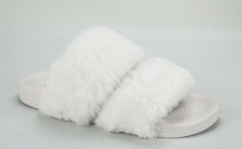 Bamboo Liv-04 White Fur Double Strap Fur Slipper