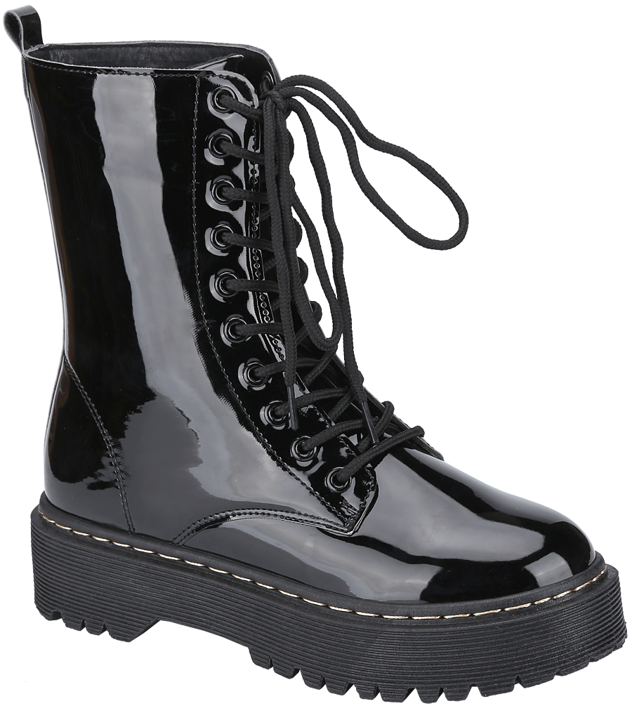 Weeboo Louisa-4 Black Lace Up Platform Boots.