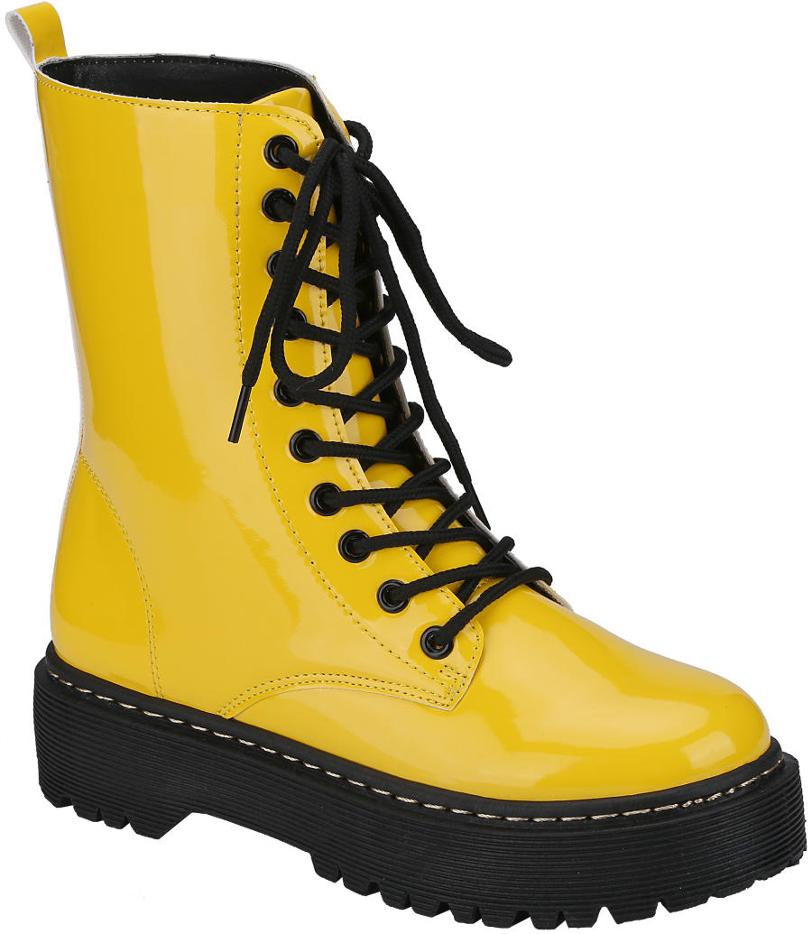 Weeboo Louisa-4 Yellow Lace Up Platform Boots.