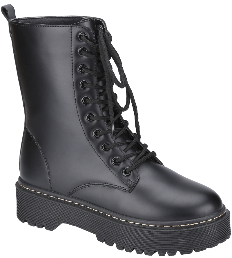 Weeboo Louisa-5 Black Lace Up Platform Boots.