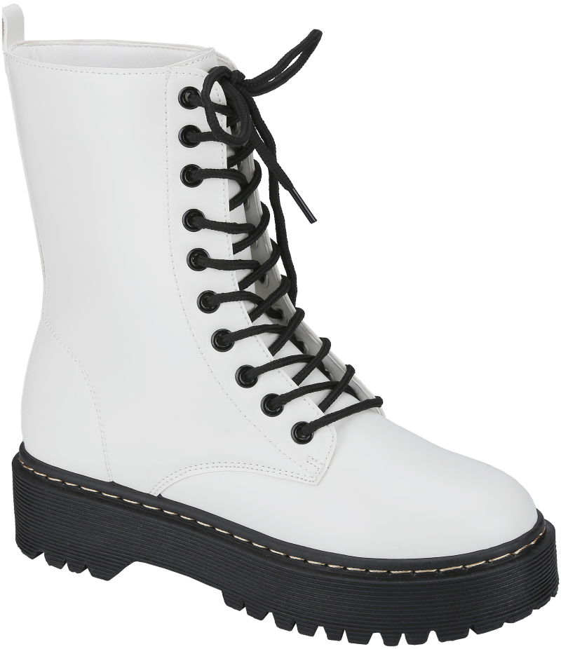 Weeboo Louisa-5 White Lace Up Platform Boots.