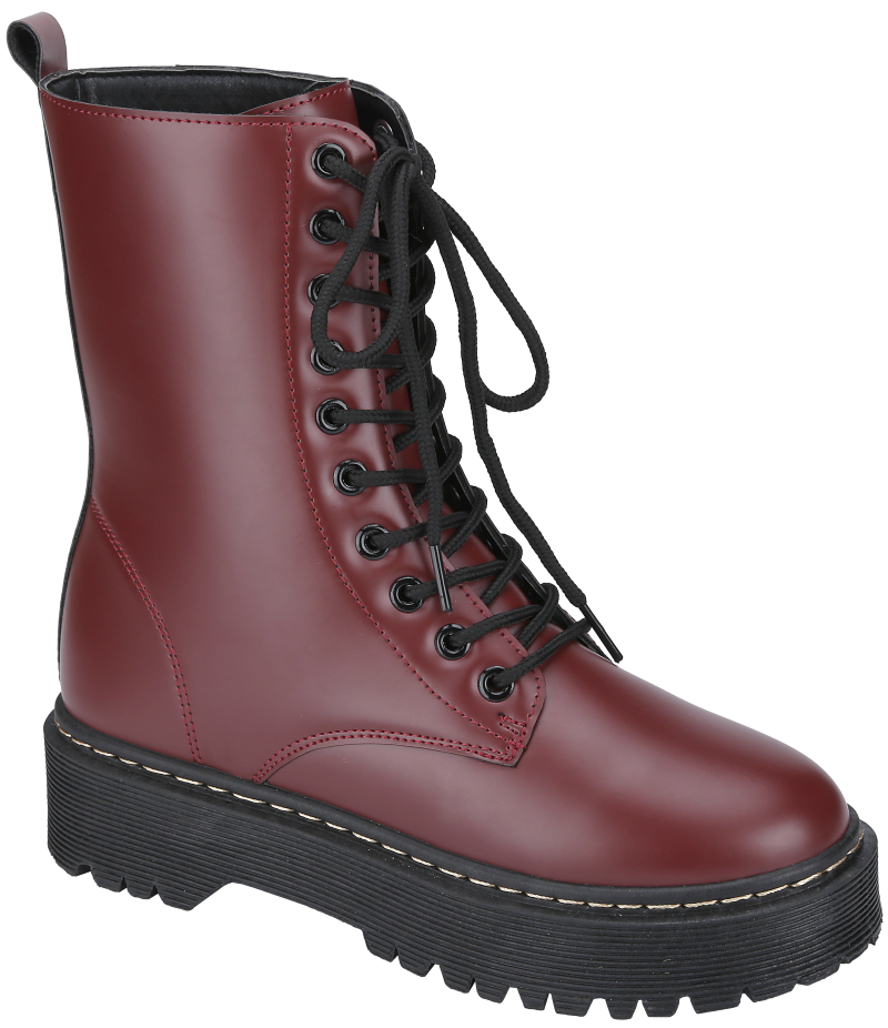 Weeboo Louisa-5 Wine Lace Up Platform Boots.