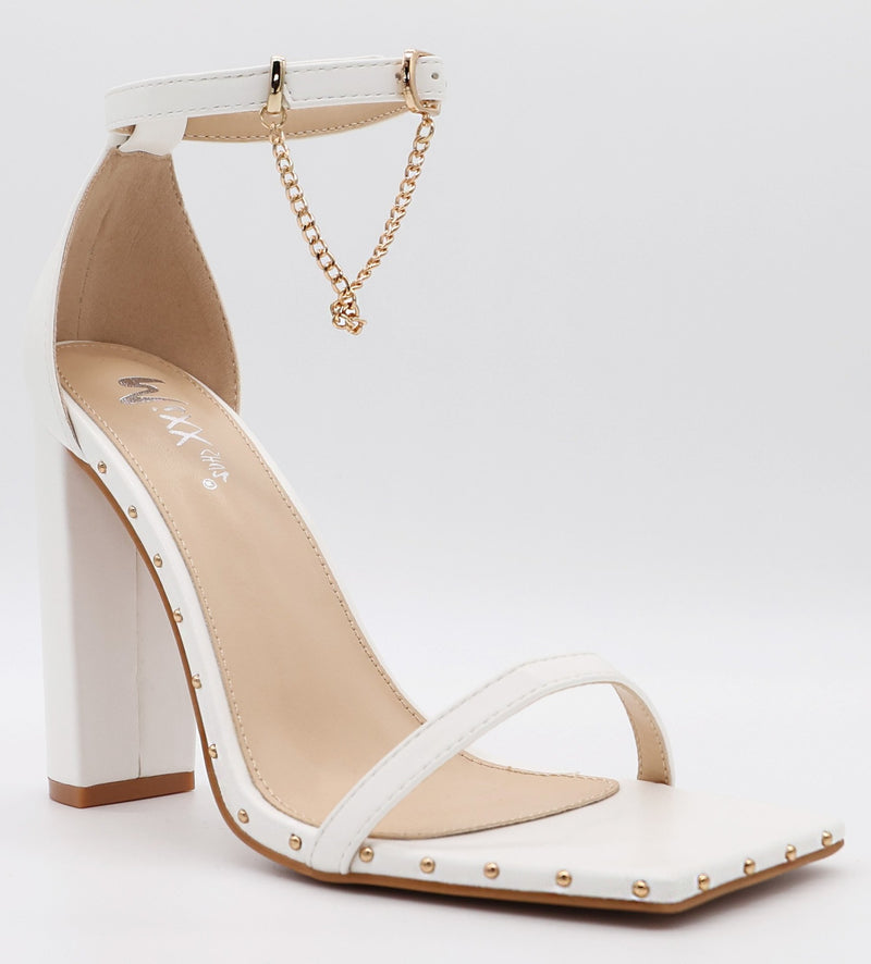 Mixx Shuz Lara White Square Double Strap With Chain Open Toed Chunky Heel