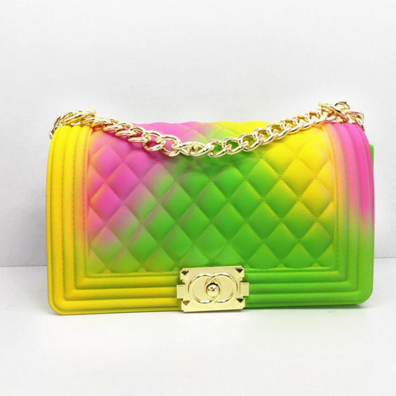 Chain Strap Green/Pink/Yellow Crossbody Bag