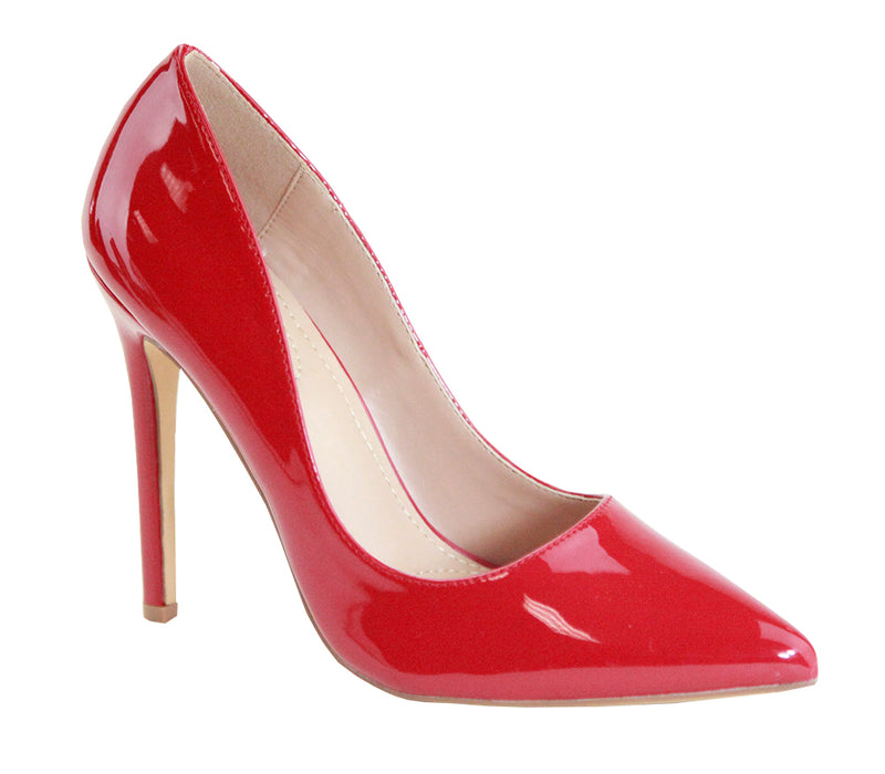 Bella Marie Malibu-2 Red Pat Stiletto Heels