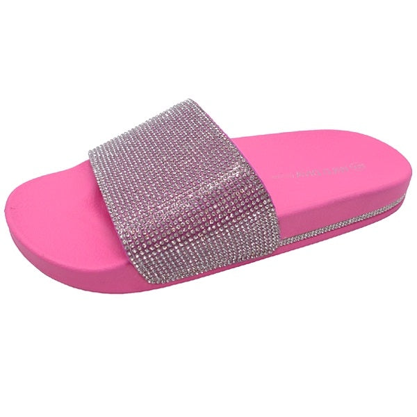 Wild Diva Marty-01 Neon Pink Slides With Crystal Strap