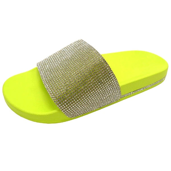 Wild Diva Marty-01 Neon Yellow Slides With Crystal Strap