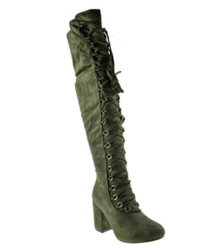 Nature Breeze Cache-04OK Olive Suede OTK Lace Up Chunky Heel